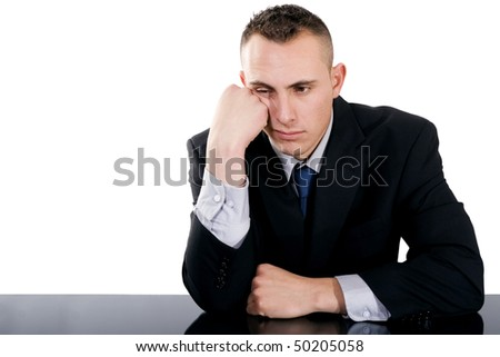 Stock image of bored businessman over white background