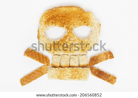 Photo of Stock image of bread skull and crossbones on white background