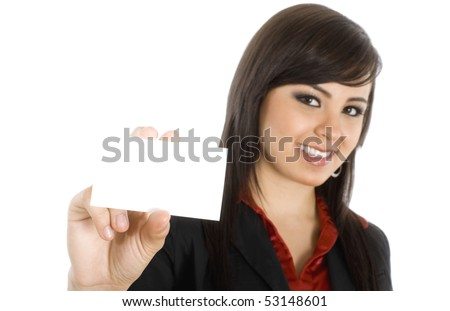 Stock image of businesswoman showing business card, selective focus on hand ( foreground ). Over white background.