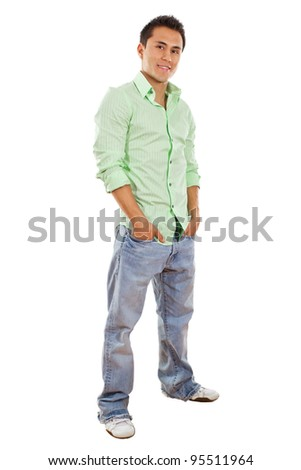 Stock image of casual man isolated on white background - stock photo