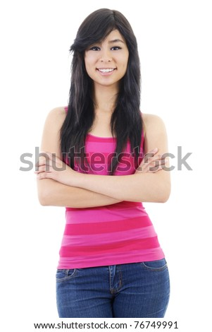 Stock image of confident casual woman, isolated on white background