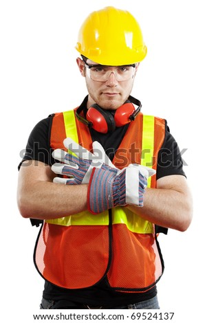 Stock image of construction worker over white background