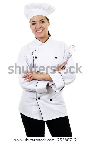 Stock image of female chef, isolated on white