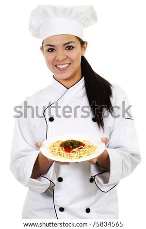 Stock image of female chef, isolated on white background