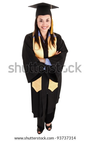Stock image of female graduate isolated on white background, high angle shot