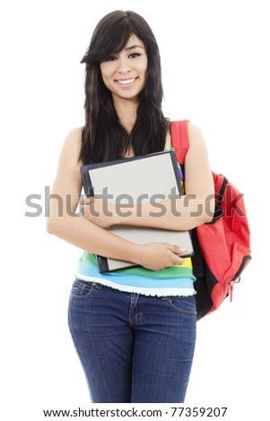 Stock image of female student isolated on white