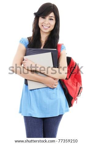 Stock image of female student isolated on white - stock photo