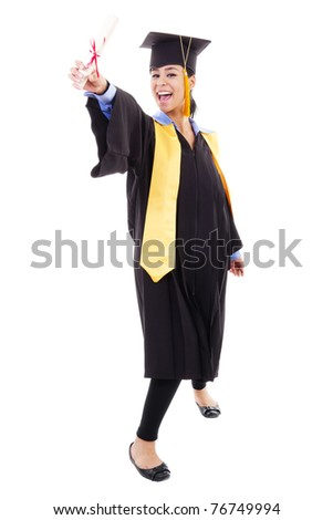 Stock image of happy female graduate, isolated on white background