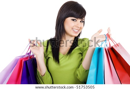 Stock image of happy female shopper, over white background.