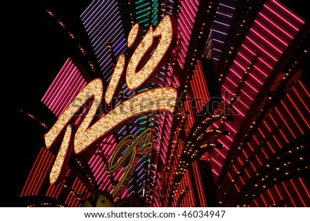 Stock image of Las Vegas, Nevada, at night in USA
