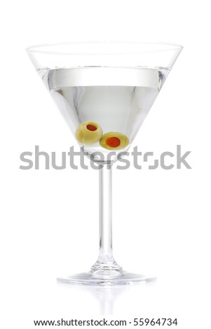 Stock image of Martini with two olives over white background