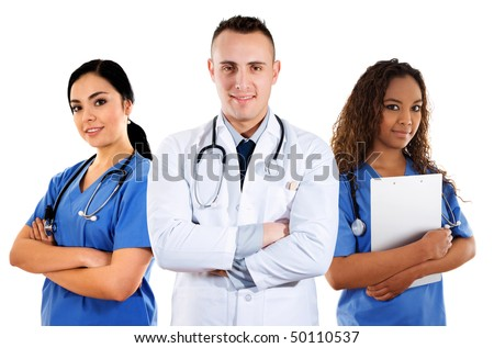 Stock image of medical team over white background