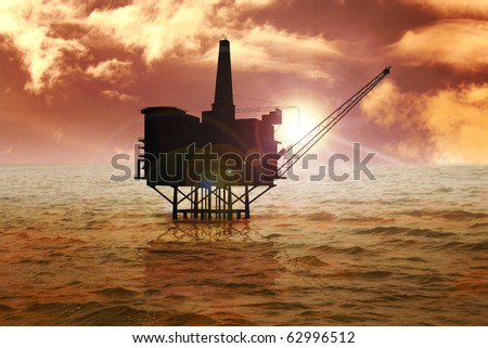 Stock image of offshore refinery