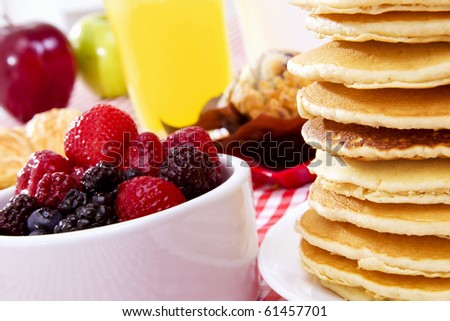 Stock image of pancake breakfast, focus on foreground