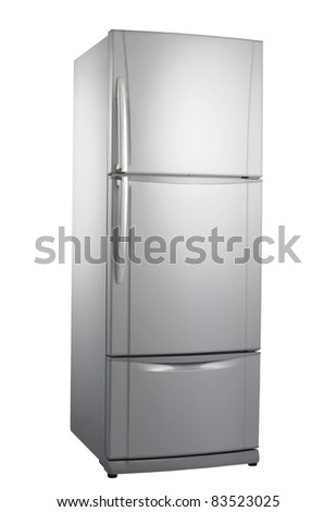 stock image of the three doors refrigerator with clipping path