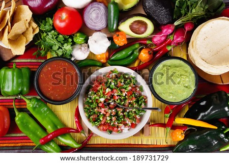 Stock image of traditional mexican food salsas and ingredients #189731729