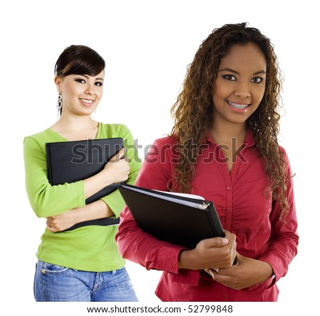 Stock image of two female students over white background