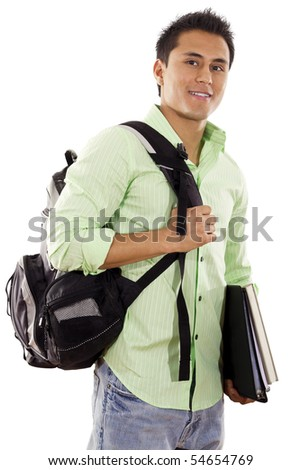 Stock image of university student over white background