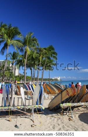 Stock image of Waikiki Beach, Honolulu, Oahu, Hawaii