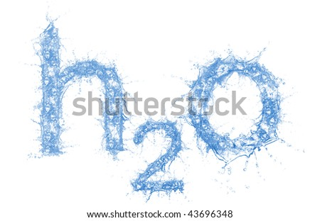 Stock image of water formula made out of water, very detailed splashes
