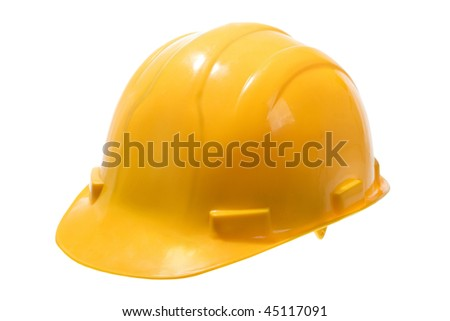 Stock image of yellow hard hat isolated on white