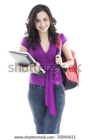 Stock image of young female student isolated on white background