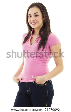 Stock image of young woman casually standing, isolated on white background