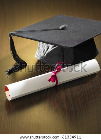 stock imageof Graduation cap and diploma