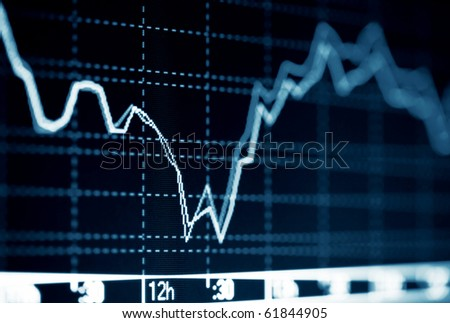 Stock index dynamics on the computer monitor.