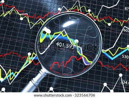 Stock market analysis illustration with magnifying glass.