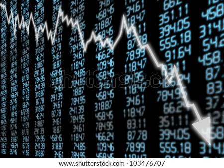 Stock Market - Arrow Graph Going Down on Blue Display