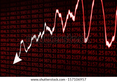 Stock Market - Arrow Graph Going Down on red Display