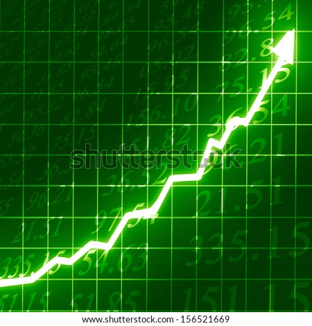stock market: arrow graph going up on a green background - stock photo