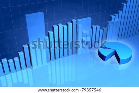 Stock Market Bars & Pie Chart - stock photo