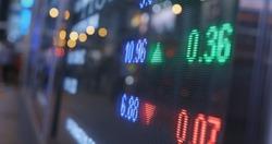 Stock market board at night