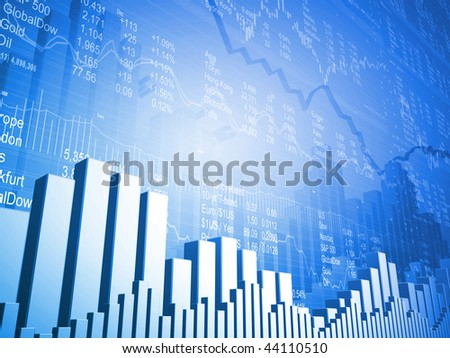Stock Market Board with Down Arrows