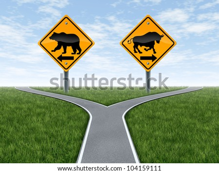 Stock market bull and bear representing the concepts of greed versus fear as a wall street financial crossroads challenge in a confused direction choice on a blue sky with summer landscape.
