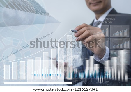 Stock market, business analysis, profits presentation, double exposure businessman analyzing financial graph, sector performance, financial investment background, economic growth report