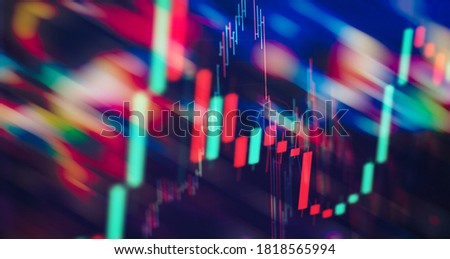 Stock market business graph chart on digital screen. Stock prices chart and Candle stick tracking for Forex market, Gold market and Crude oil market.
