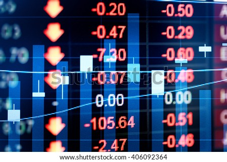 Stock market chart.Business graph with tending. Stock market chart,Stock market data on LED display concept.