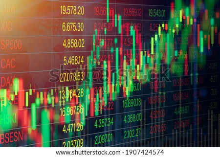 stock market chart for forex trading graph on world map background Stockfoto ©