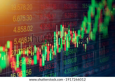 stock market chart for forex trading graph on world map background