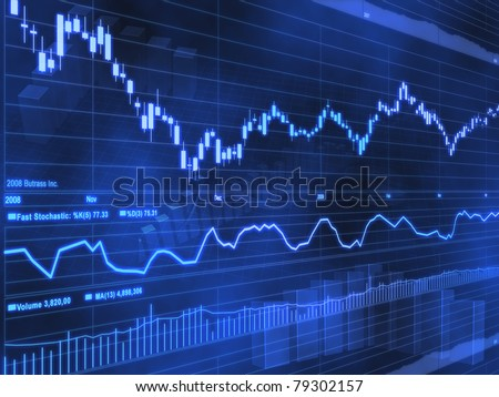 Stock Market Chart on Blue Background - stock photo