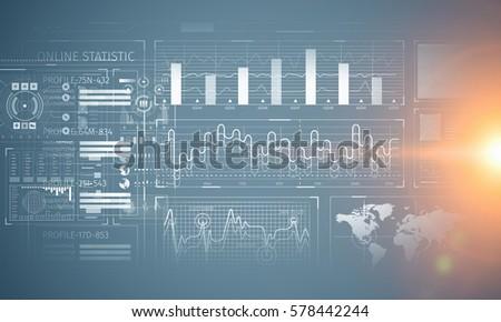 Stock market chart on blue background . Mixed media