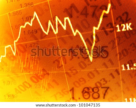 Stock market chart on computer screen. Selective focus
