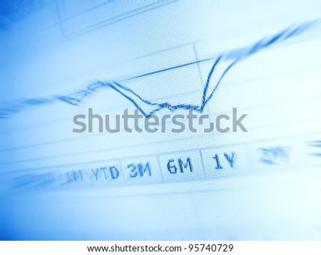 Stock market chart on computer screen. Selective focus
