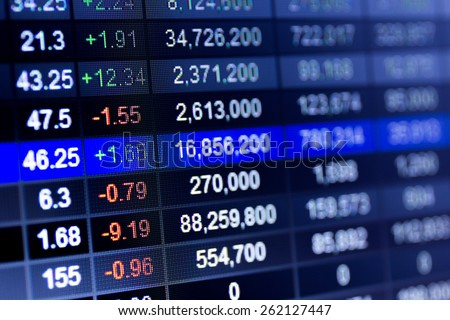 Stock market chart,Stock market data on LED display concept. #262127447