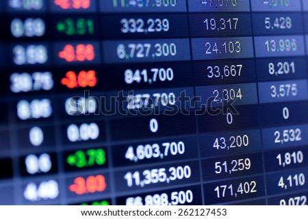 Stock market chart,Stock market data on LED display concept. #262127453