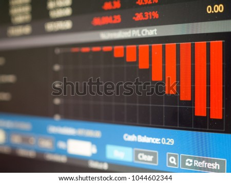 Stock market - Close up of stock market graph going down on red #1044602344