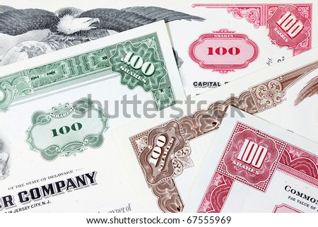 Stock market collectibles. Old stock share certificates from 1950s-1970s (United States). Vintage scripophily objects (obsolete).